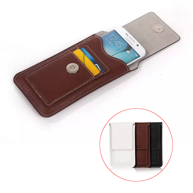 "Luxury Climbing Belt Clip Holster Bag Hook Loop Magnetic Pouch PU Leather Vertical Cover Case For All Smart Phone 4.7"" Below"