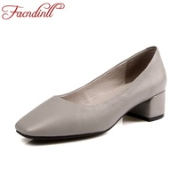 FACNDINLL 2018 New Spring Women Pumps Genuine Cow Leather Med Heels Round Toe Shoes Woman Dress