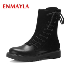 ENMAYLA  Basic Round Toe Lace-Up Flat with Boots Women Botas Mujer Invierno Snow Size 34-39 ZYL1928