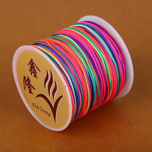 50 метров 0,8 мм нейлоновый шнур, китайский Узелок, шнур макраме, браслет, плетеный шнур, бисероплетение, сделай сам, ювелирный шнур, нить - Цвет: Rainbow