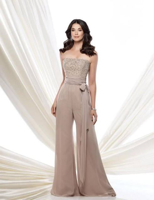 2016 115976 Formal Jumpsuit Mother Of The Bride Pant Suit Strapless Chiffon High Waist Beading On