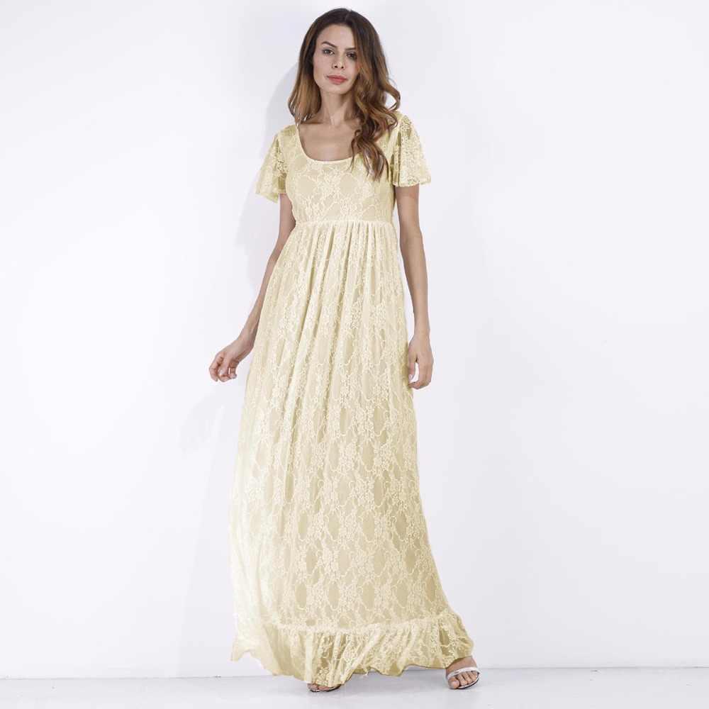 ... Puseky Maternity Dress Pregnant Women Lace Ruffle Hem Short Sleeve Maxi Dress  Photography Prop Wedding Party ... 730a3335359e