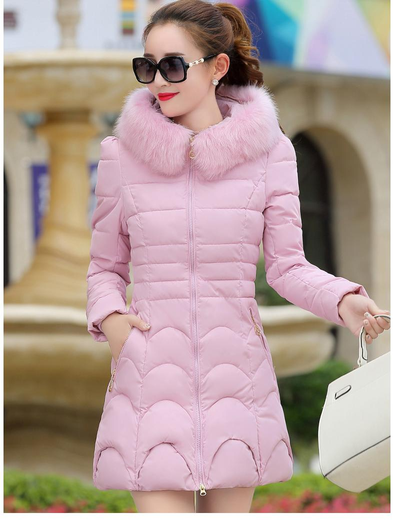 2017 New Cotton Women In The Long Section Of The Winter Women's Cotton Jacket Jacket Cotton Jacket sky blue cloud removable hat in the long section of cotton clothing 2017 winter new woman