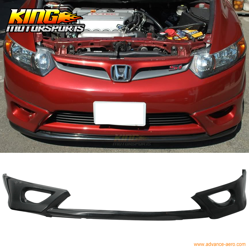 Black Polyurethane Front Bumper Lip Bodykit Spoiler Fit For 06 07 08 Honda Civic 2DR fit 1992 1993 1994 1995 honda civic 2 3dr front bumper lip spoiler bodykit ww style urethane