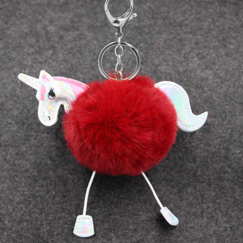 Bonito Pele Macia Keychain Unicórnio no Sacos de Pele De Coelho Pom Pom Bola Cavalo Bugiganga Chaveiros Encantos do Saco Das Mulheres dom Anel Chave do carro