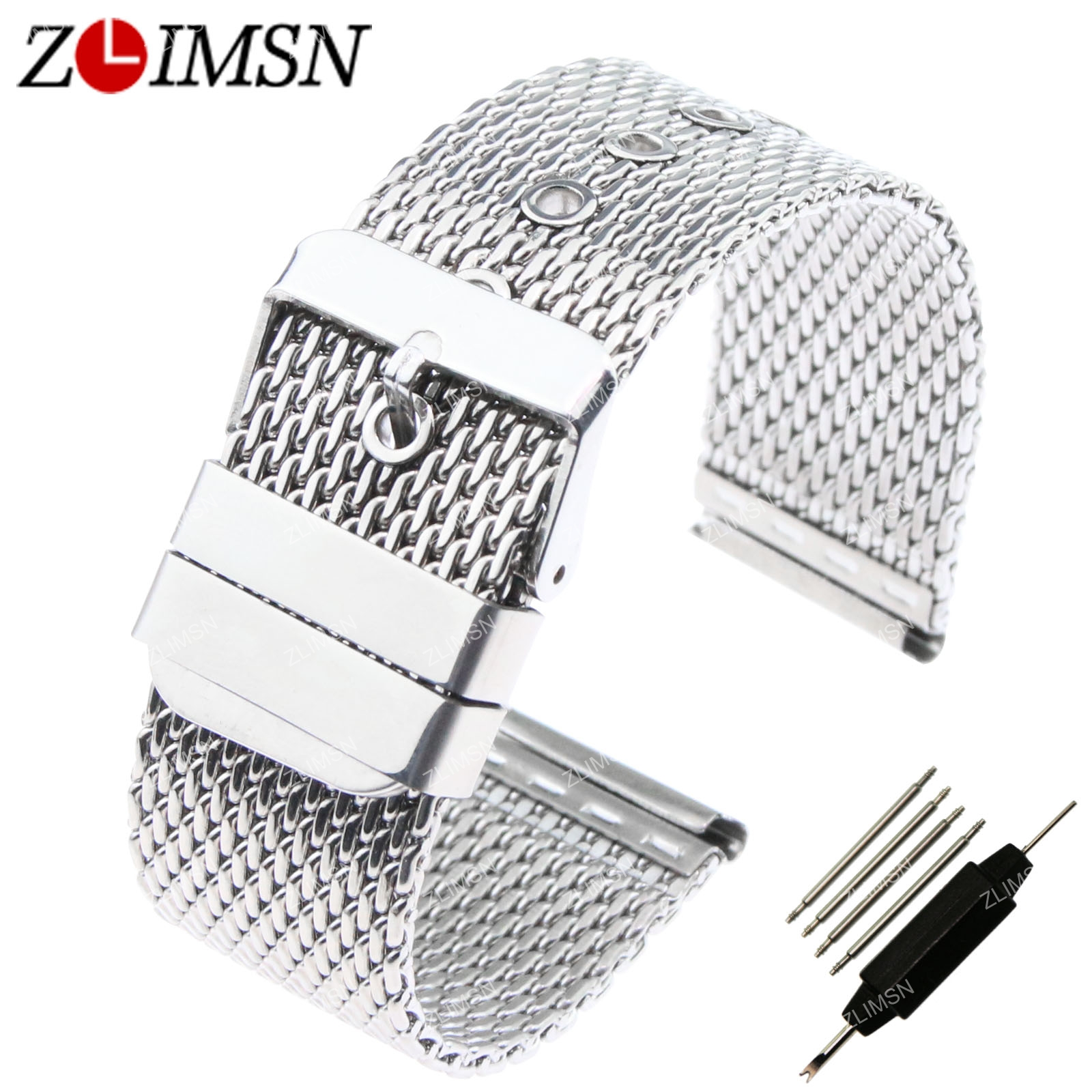 Zlimsn Mesh Watchbands Mens Thick Watch Band Strap Stainless Steel Bracelet  With Pin Buckle Relogio 18mm