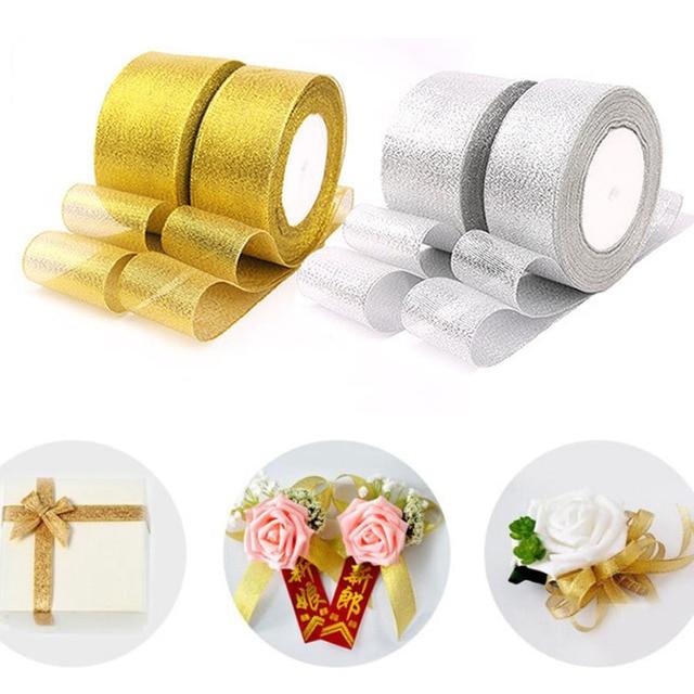 25Yards/Roll 22m Gold Silver Shiny Organza Ribbon for Wedding Christmas Decoration DIY Webbing Cake Gift Packing Crafts Ribbons