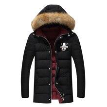 Mann Warme Baumwolle Gepolsterte Winterjacke Casual Herren Parka Mantel Thick Outwear M-4XL lange Jacke Marke Männliche Kleidung mit kapuze Mäntel