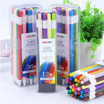 Deli Pushable Colored Pencil 12/24/36 Colors Water Soluble Wooden Color Pencil Set 2B Replaceable Color Lead Core Art Painting