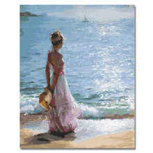 RIHE Girl Watching Sea Abstract Lover Painting Diy Digital Dancing By Numbers Modern Wall Art Picture For Home Decor