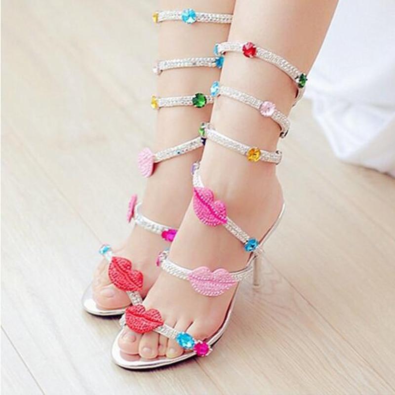 Boda Sandalias Mujer Diseñador Rhinestone Botas Serpiente Nupcial Estilo Zapatos Gladiador Heels Sandalia Toe Abierto 8cm Shinny Verano Señora De La Multicolor ZpxwgZ