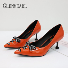 Women Pumps High Heels Shoes Pointed Toe Bow-Knot Sexy Heels Brand Slip on Spring Casual Party Wedding Shoes Dress Plus Size DE