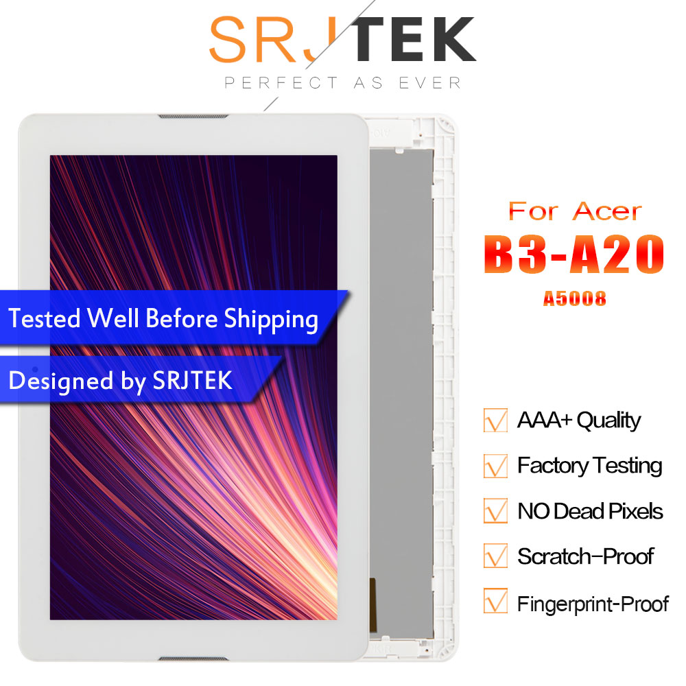 Srjtek LCD display Matrix For Acer Iconia One 10 B3-A20 A5008 LCD Screen Touch Screen Digitizer Tablet PC Assembly with FrameSrjtek LCD display Matrix For Acer Iconia One 10 B3-A20 A5008 LCD Screen Touch Screen Digitizer Tablet PC Assembly with Frame