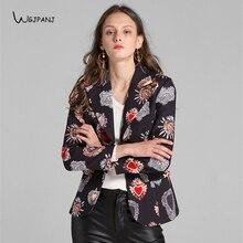 1f1f6dded5 2018 otoño negro Floral corazones impreso Slim Mujer Tops alta calidad  pasarela diseño Vintage mujer chaqueta Blazer