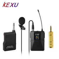 KEXU Professional UHF Wireless Microphone System Lavalier Lapel Mic Receiver + Transmitter for Camcorder Recorder Microphone