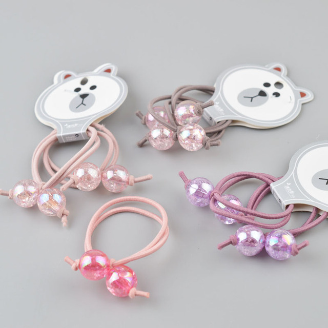 1 Pair  Beads toddlers elastic Headband Bowknot hairband  kids hair Accessories Elastic hair Rope A52