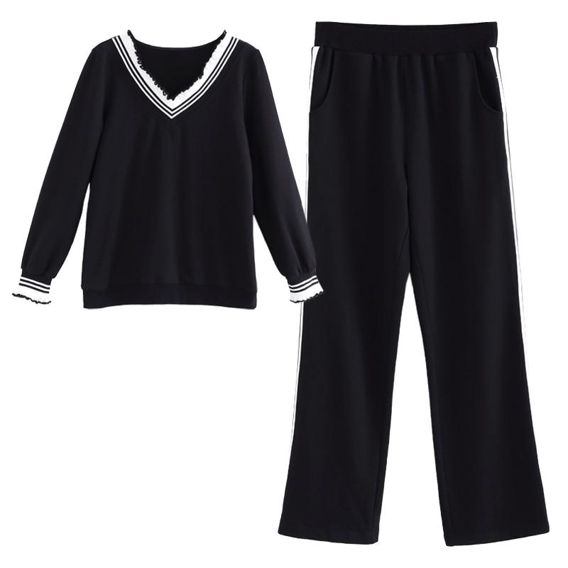 L-5XL Swearshirt et Long Pantalon Sportives Costume Swearshirt Sportwear Costume Ensemble autumn2017sweatshirt et pantalon survêtements femmes