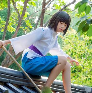 Classic Spirited Away Sen to Chihiro no Kamikakushi White Dragon Haku Nigihayami Kohakunushi Kimono Uniform Cosplay Costume(China)