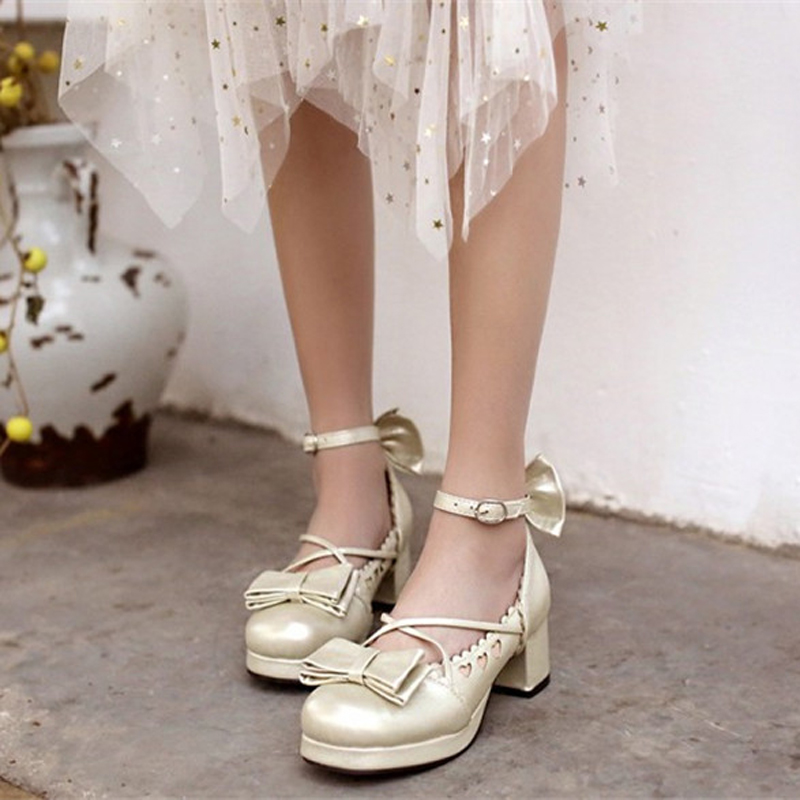 Big Size 30-48 Women Pumps Japanese Princess Lolita Shoes Sweet Bow Cross Straps High Heels Mary Janes COSPLAY Female Shoes Gold (9)