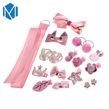 M MISM 1Set=18PCS Hot Sale Headwear Set For Children Flower/Bowknot Hair Clips Party Rubber Band Gum Accessories