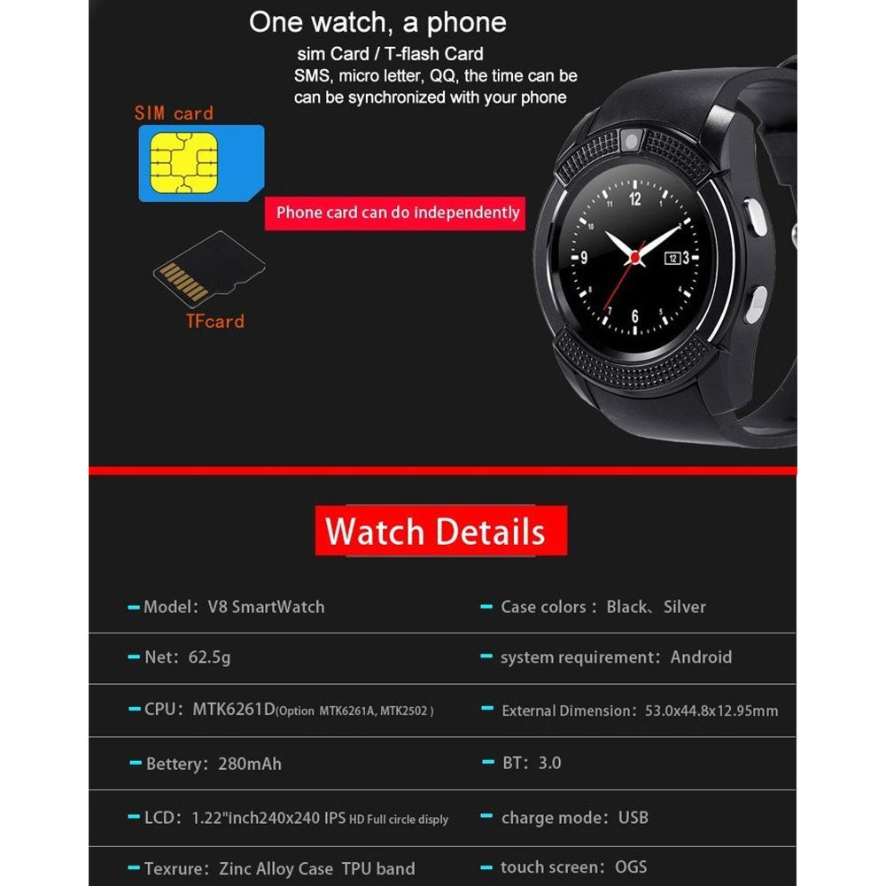 V8 Smart Watch phone best price in bangladesh