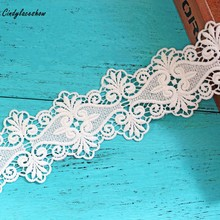 2 Yards Vintage Beautiful White Lace Ribbon Tape 7.5cm Width Trim DIY Embroidered For Sewing Decoration african lace fabric