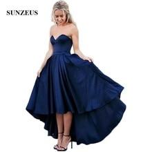 Hoge lage bruidsmeisje jurk korte voorkant lange rug marineblauw bruiloft feestjurken formele jurken