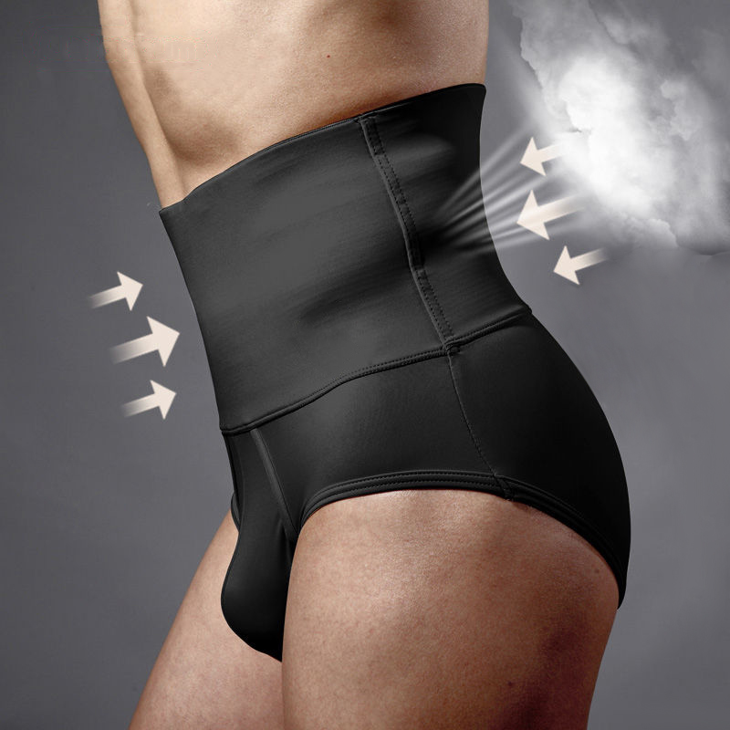 Mens Underwear High Waist Body Shaper Slimming Fit Tummy Control Waist Trainer Tight Pants Shapewear Hot Bottom Bandage Panties (2)