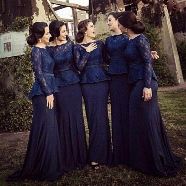 bf0f0de4b8a 2016 Navy Blue Lace Bridesmaid Dresses With Sheer Long Sleeves Mermaid  Cheap Plus Size Maid of honor Prom Gown Custom Made