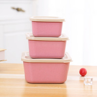 Degradable wheat straw Baby food storage box set Eco Friendly Crisper with lid kids food feeding Container tableware 3pcs/set