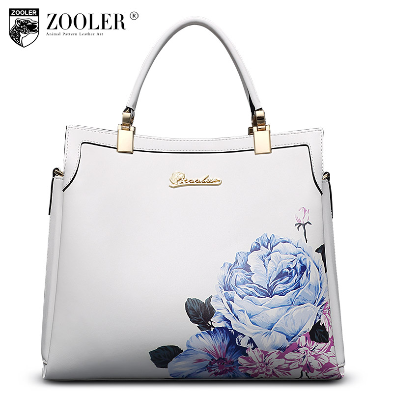 цена на Luxury leather tote ZOOLER 2017 genuine leather women bags handbag flower embossed real cowhide bag bolsa feminina #10105