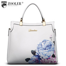 ФОТО luxury leather tote zooler 2017 genuine leather women bags handbag flower embossed real cowhide bag bolsa feminina #10105