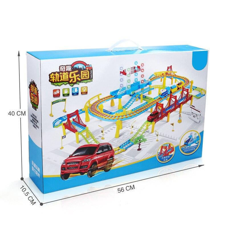 Piste magique de variété électrique de vitesse de Double-couche d'enfants avec le Puzzle de Train de viaduc avec le petit jeu de voiture jouets éducatifs