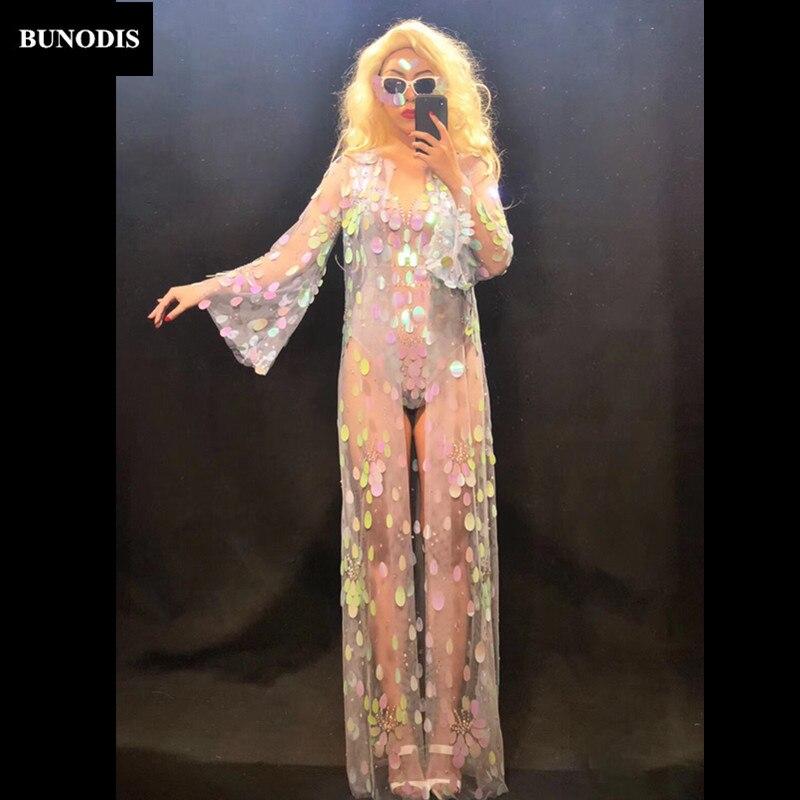 Mousseux Costumes Paillettes Coloré Body Stage Sexy Manches Cristaux Femmes Nightclub Danseur Bu301 amp; Porter Longues Manteau w0qaZHCcvF