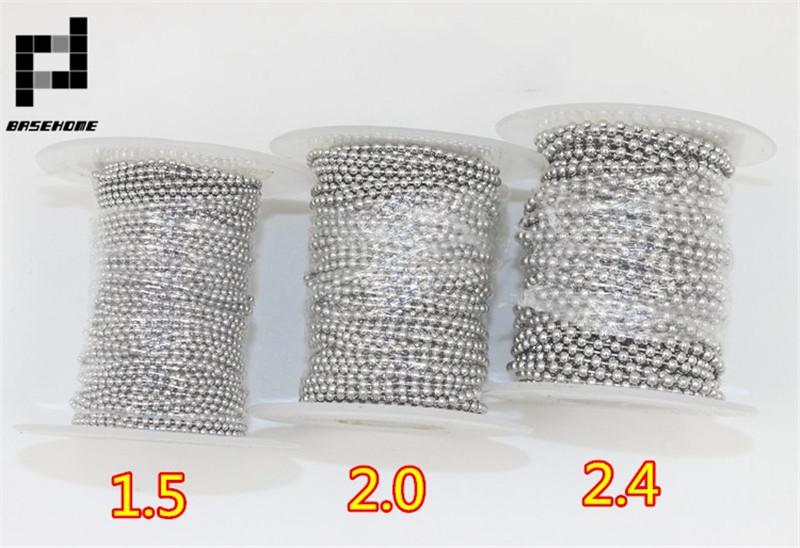 BASEHOME 10m/Roll Dia 1.5/2/2.4mm Beaded Ball Stainless Steel Chain Bulk  Jewelry Chains For Necklaces Jewelry Making Supplies