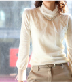 Woman winter Lantern Sleeve plus size lace Fold Turtleneck plus velvet sweaters lady autumn hedging stretch warm sweater