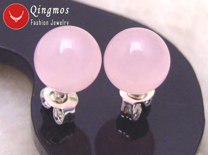 Qingmos Round Natural Jades Earrings for Women with 8mm Pink Jades Trendy Stering Silver 925 Stud Earring-ear133