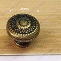 Dia.24mm Vintage  drawer knob Single Hole Zinc Alloy Kitchen Furniture pulls antique brass handles
