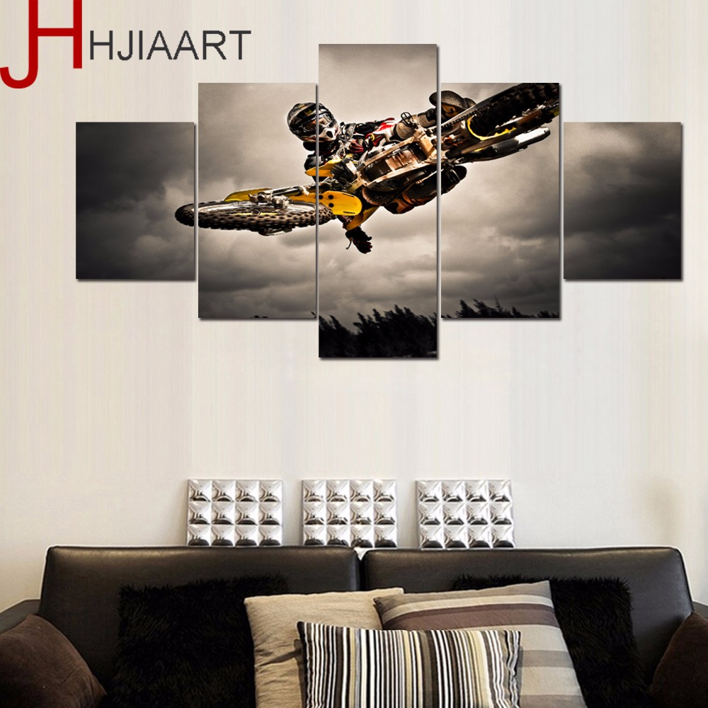 HJIAART 5 Panels Motorcycle Race Painting for Living Room Sports Framed Game Wall Art Pi ...