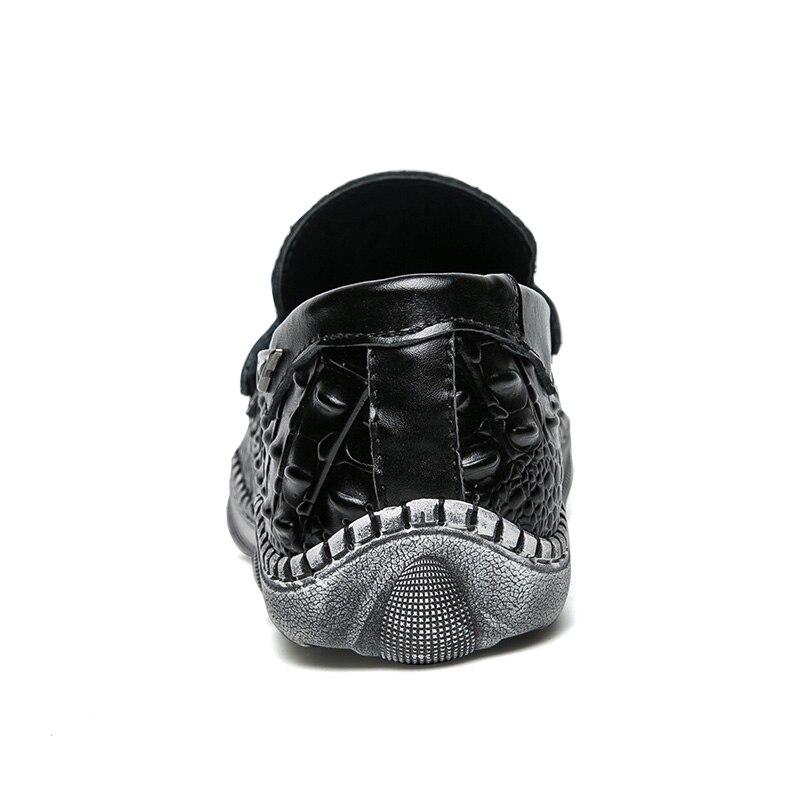 Crocodile Anti Chaussures Doux En Split Hommes Style Mocassins Occasionnels slip 30d50 Cuir white Black Conduite nxCxpUT8wq