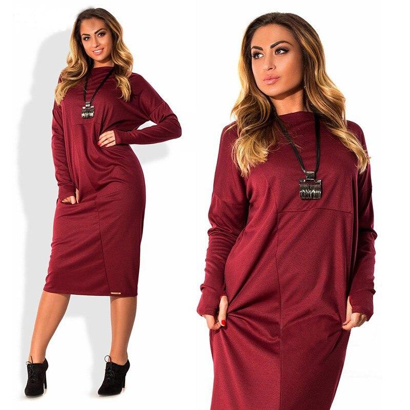 4a81eaa6e3e 4XL 5XL 6XL 2017 Autumn Winter Dress Casual Long Sleeve Big Size ...