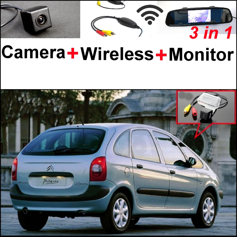 3in1 Special Rear View Camera + Wireless Receiver + Mirror Monitor Easy DIY Backup Parking System For Citroen Xsara Picasso MPV wireless pager system 433 92mhz wireless restaurant table buzzer with monitor and watch receiver 3 display 42 call button