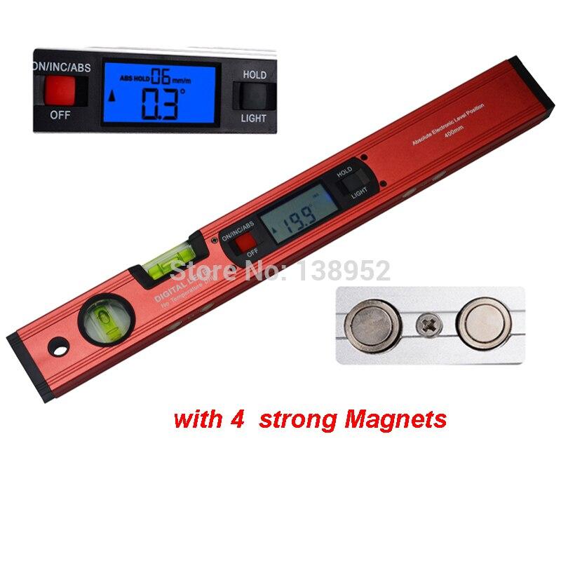 400mm 16 Zoll Rot Digitale Winkel Finder Ebene 360 Grad Palette Wasserwaage Aufrecht Neigungsmesser Mit Magneten Winkelmesser Lineal Klar Und Unverwechselbar