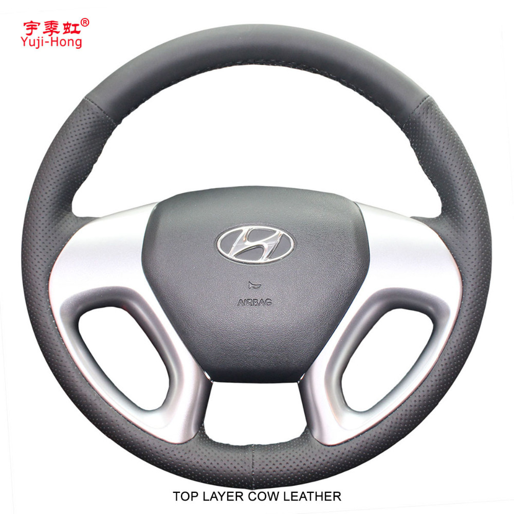 Yuji Hong Top Layer Genuine Cow Leather Car Steeering Wheel Covers Case for Hyundai ix35 2010