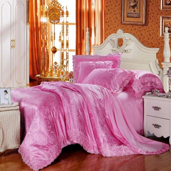 Цветущие розы цветочный стиль розовый постельное белье пододеяльник набор кружева границы жаккардовые шелка хлопка Королева/King 4/6 шт. постельного белья