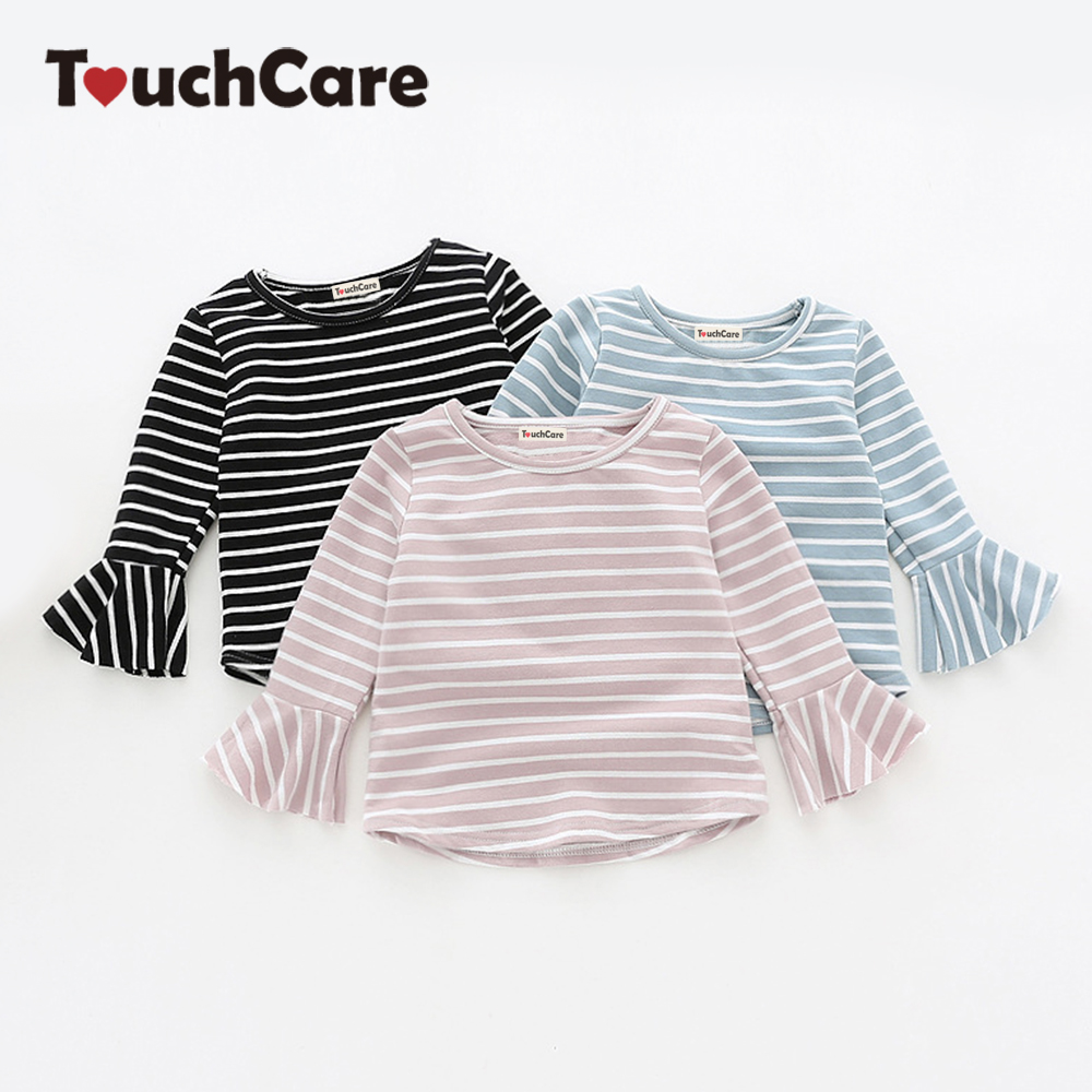 Touchcare Newborn Stripes Lotus Leaf Sleeve Baby Girl T-shirt Autumn Toddler Cotton Baby Girl Clothes Infant Girls T Shirts
