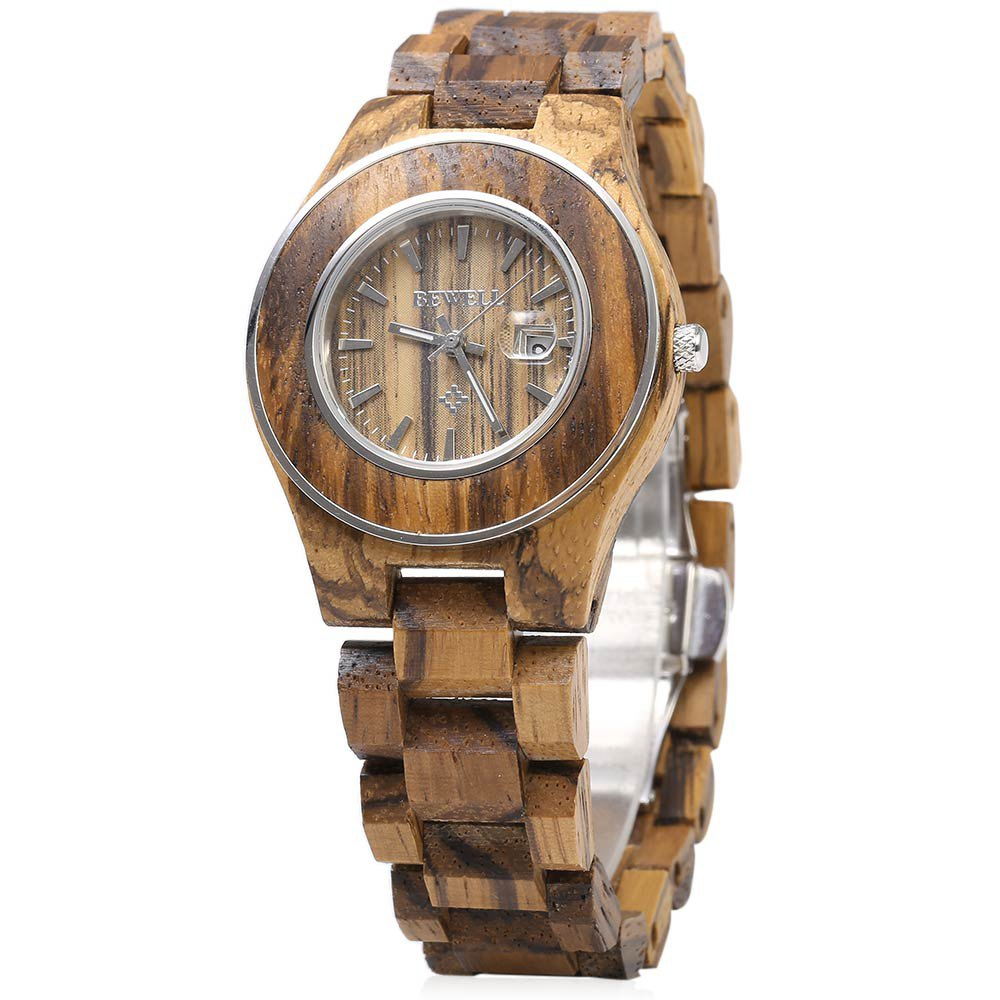 Bewell Women Wooden Quartz Watch, Calendar Luminous Pointer Female Fashion Wrist Watches, Ladies Elegant Watches bewell wooden quartz watch men women