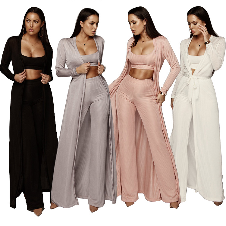 Bandage lace up long sleeve cardigan coat loose wide leg pants tube top 3 piece set for female women's suits