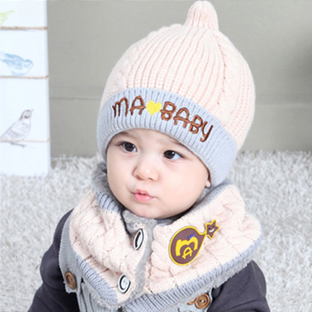winter baby girls caps warm wool knitted cute owl baby hat and scarf