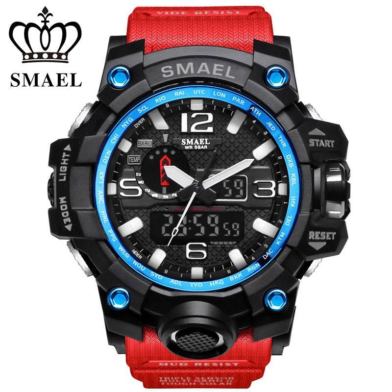 Prix pour Smael marque de luxe hommes sport montres led numérique horloge de mode casual montre analogique-numérique relogio militar mâle horloge ws1545